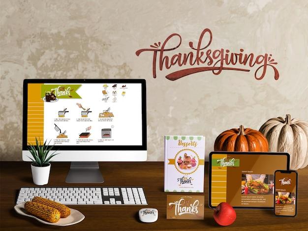Vooraanzicht van mock-up van de maker van de thanksgiving scene
