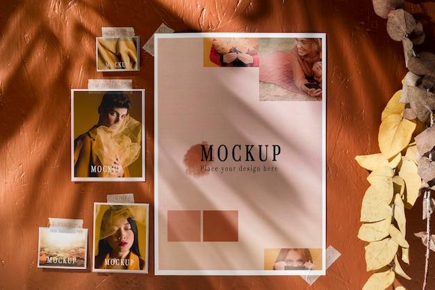 Vooraanzicht van mock-up voor herfst moodboard