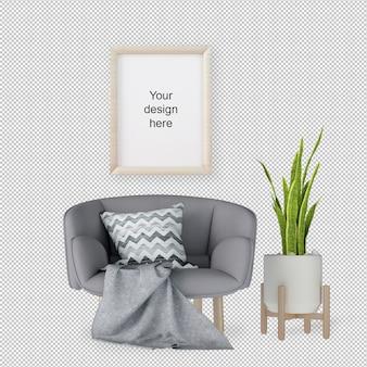 Vooraanzicht van mockup frame met fauteuil en plant