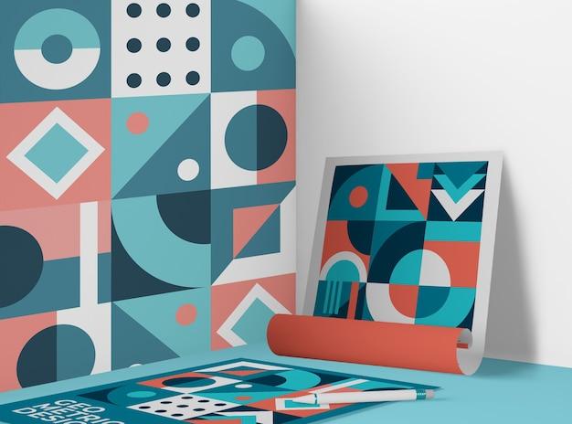 Vooraanzicht van papier met geometrische patroon