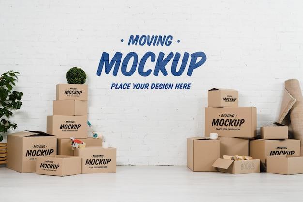 Vooraanzicht van verhuisdozen mock-up