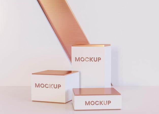 Vooraanzicht van vierkante podia mock-up