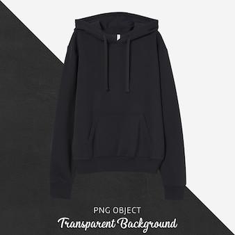 Vooraanzicht van zwart unisex hoodie-model