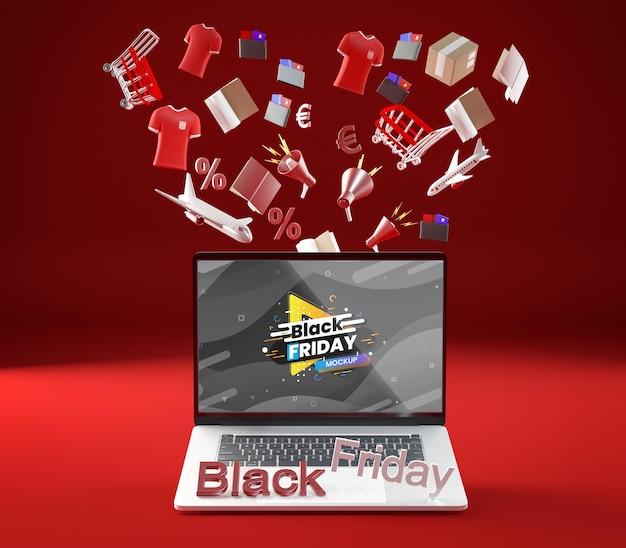 Vooraanzicht zwarte vrijdag mock-up verkoop rode achtergrond