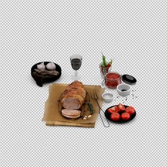 Voorgerechten van tomaat, vlees op houten bord met wijnglas