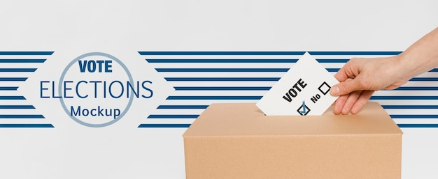 Votazione per le elezioni mock-up con la mano