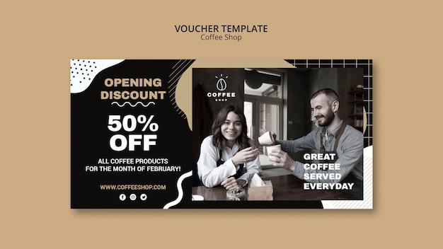 Voucher sjabloon concept voor coffeeshop