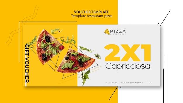 Voucher sjabloon met aanbieding voor pizzarestaurant