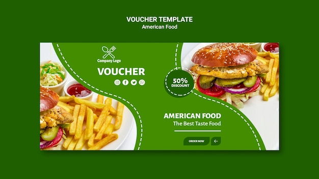 Voucher sjabloon met hamburger foto
