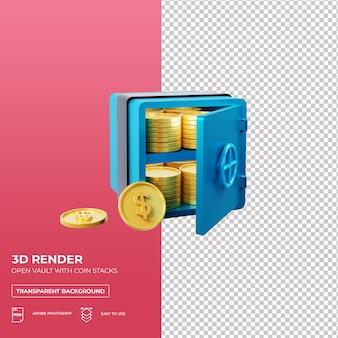 Voult abierto con pilas de monedas en 3d render premium