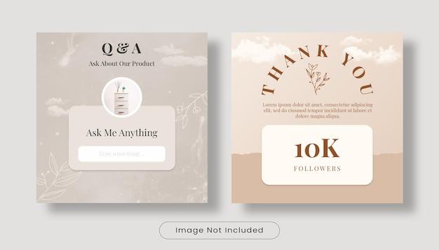 Vraag het me en bedankt 10k volgers instagram feed bannersjabloon set Premium Psd