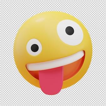 Vreemd gezicht emoji 3d illustratie