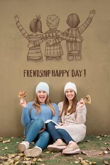Vrienden vieren vriendschap dag samen