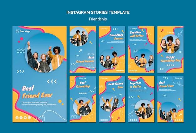 Vriendschap concept instagram verhalen sjabloon
