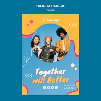 Vriendschap concept poster sjabloon