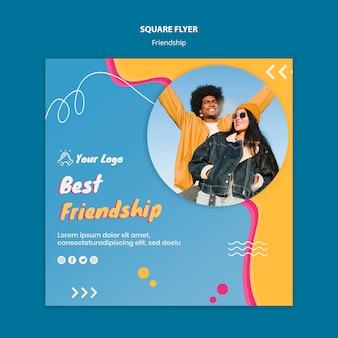 Vriendschap concept vierkante flyer-sjabloon