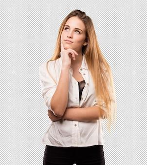 Vrij jonge vrouw denken