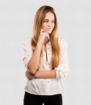 Vrij jonge vrouw die denkt
