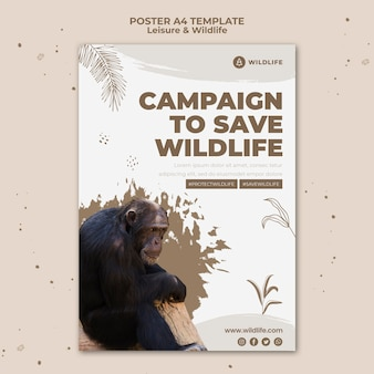 Vrije tijd en dieren in het wild poster sjabloon