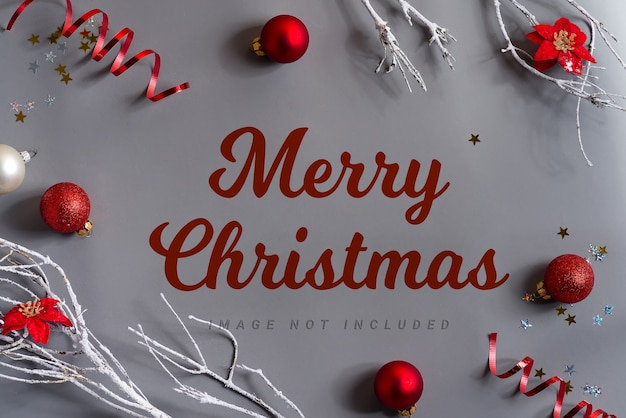 Vrolijk kerstfeest belettering met mockup decoratie