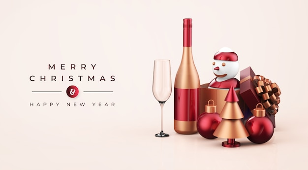 Vrolijk kerstfeest en een gelukkig nieuwjaarsmodel