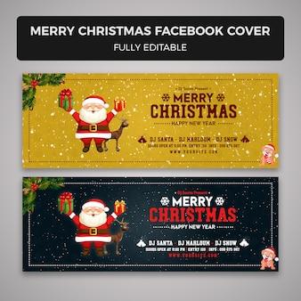 Vrolijk kerstfeest facebook voorbladsjabloon