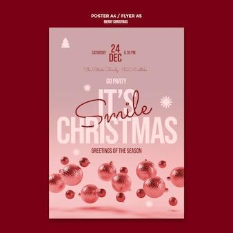 Vrolijk kerstfeest flyer-sjabloon