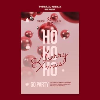 Vrolijk kerstfeest poster sjabloon