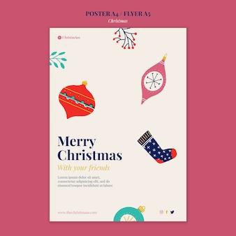 Vrolijk kerstfeest verticale afdruksjabloon geïllustreerd