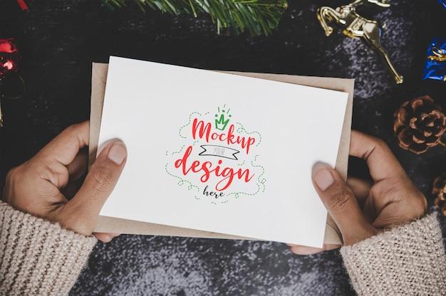Vrolijk kerstfeest wenskaart mockup