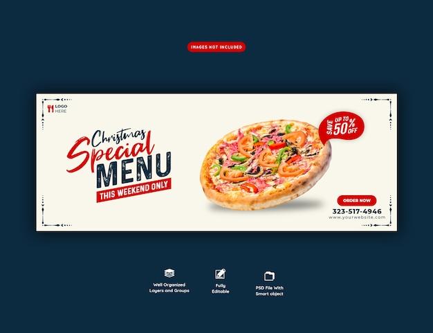 Vrolijk kerstvoedselmenu en heerlijke pizza facebook omslagsjabloon voor spandoek