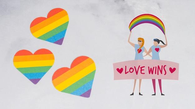 Vrolijke trotsachtergrond met een homoseksueel paar