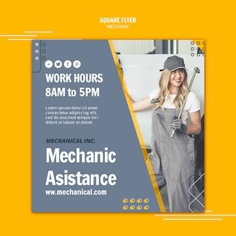 Vrouw die werkt als mechanische assistent vierkante flyer