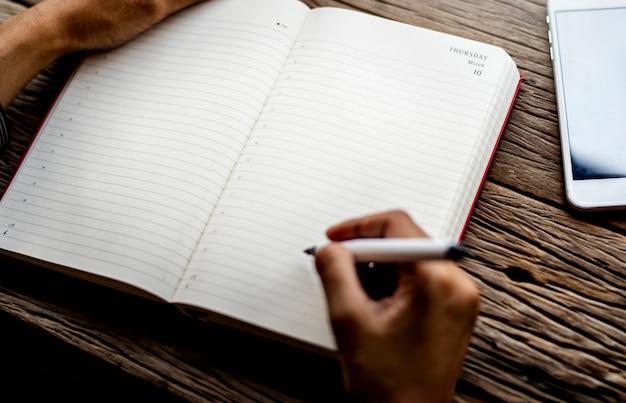 Vrouw die zittings houten lijst schrijft