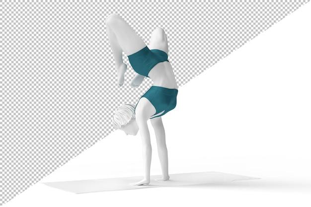 Vrouw in vrischikasana of schorpioen pose tijdens yogasessie