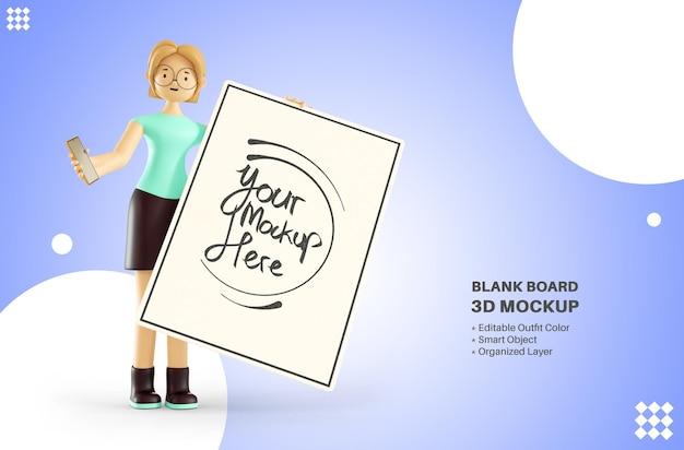 Vrouw karakter bedrijf whiteboard 3d-rendering mockup