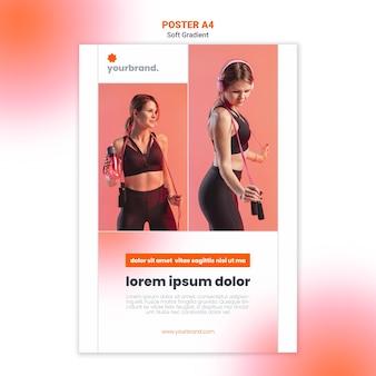 Vrouw luisteren naar muziek fitness poster sjabloon