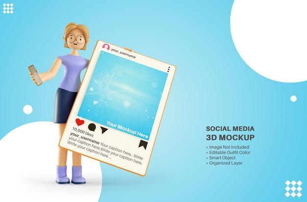 Vrouw meisje karakter bedrijf instagram apps sociale media plaatsen 3d cartoon rendering mockup