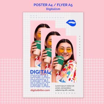 Vrouw met afhaalmaaltijden koffie digitalisme poster sjabloon