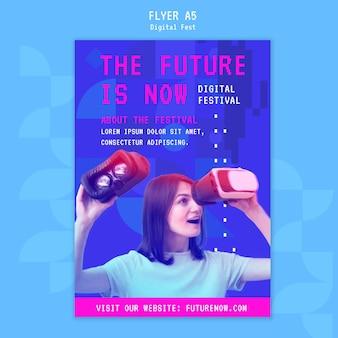 Vrouw met behulp van een flyer-sjabloon voor virtual reality headset