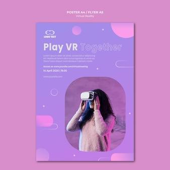 Vrouw met behulp van een virtual reality headset poster sjabloon