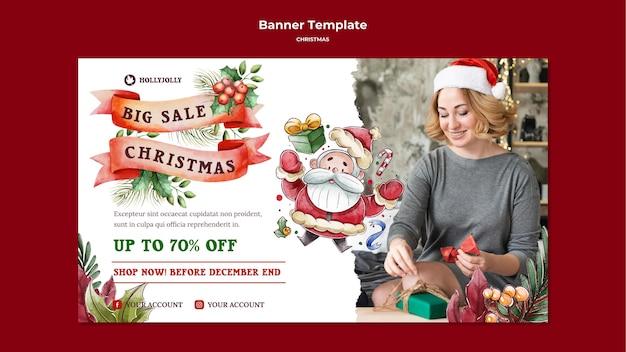 Vrouw met kerstmuts sjabloon voor spandoek