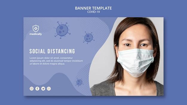 Vrouw met masker covid-19-sjabloon voor spandoek