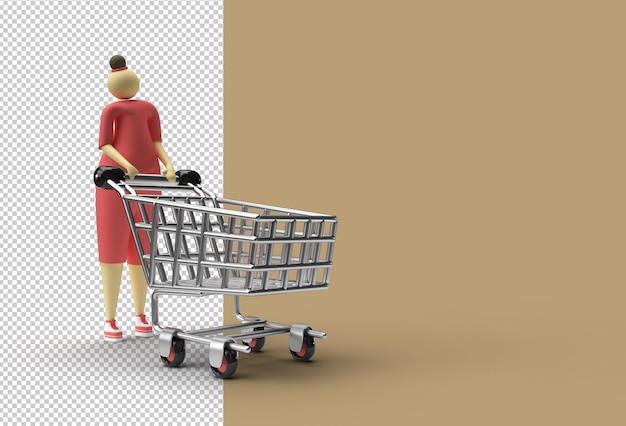 Vrouw met winkelwagen pictogram transparant psd-bestand.