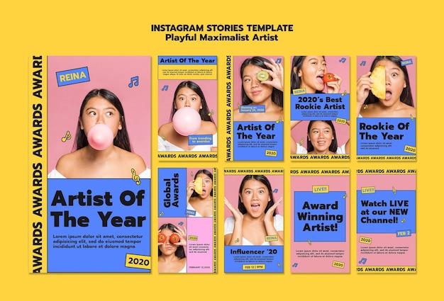Vrouw speelse maximalistische kunstenaar instagram verhalen sjabloon