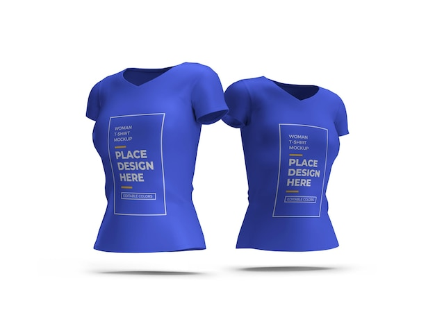 Vrouw t-shirt 3d mockup geïsoleerd