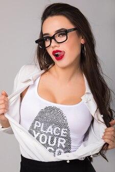 Vrouw t-shirt mock-up
