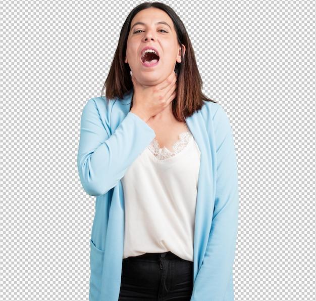 Vrouw van middelbare leeftijd bezorgd en overweldigd, angstig gevoel druk, concept van angst
