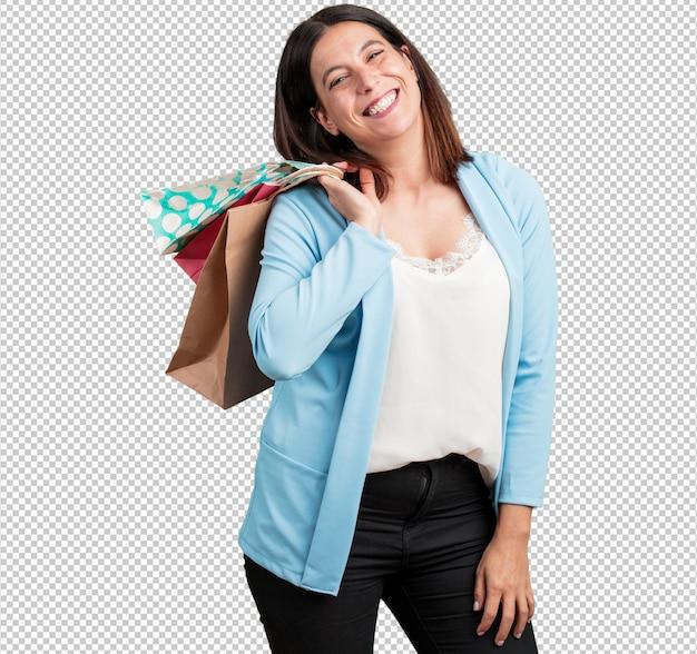 Vrouw van middelbare leeftijd vrolijk en glimlachen