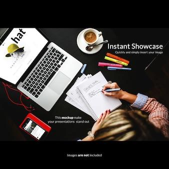 Vrouw werken met een laptop opschieten